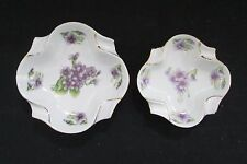Vintage 2 ANDREA Lilac Ashtrays SADEK China Hand Painted Made In Occupied Japan