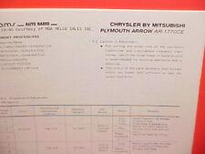 1978 PLYMOUTH ARROW AM-FM RADIO SERVICE SHOP MANUAL MODEL AR-1770CE