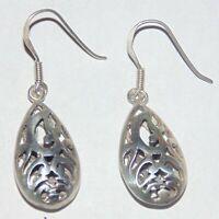 Estate sterling silver Bali style floral openwork teardrop pierced hook earrings