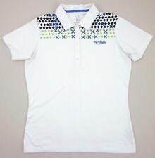 "Women's Kate Lord Golf Polo ""The Villages Florida"" White Blue Green Sz. Medium"