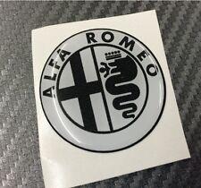 1 Adesivo Stickers ALFA ROMEO Bianco Nero 50 mm 3D resinato auto