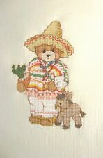 Finished Completed Cross Stitch - Carlos, Mexican Bear - Cinco de Mayo