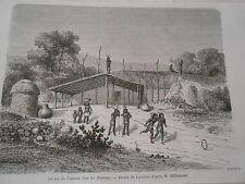 Amérique du Nord Indiens Le jeu de l'anneau chez les Mohaves  Gravure 1876