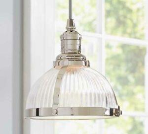 Modern Pendant Light With Chrome Ribbed Glass Chrome Finish(Adjustable Length)