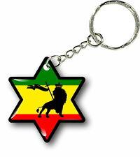 Keychain key ring keyring car rasta flag jamaica rastafarai star lion of judah