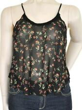 GIRL XPRESS SZ 18 PLUS SIZE WOMENS Black Sheer Floral Print Tank Sleeveless Top