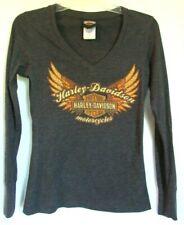 Harley-Davidson Womens Flocked Logo Long Sleeve Raw-Edge Tee Black 96294-18VW