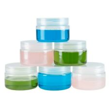 Clear 4 Ounce Plastic Jars Screw on Lids for Lotions Crafts Travel Set of 6
