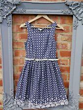 Señoras Yumi impresionante Azul Marino y Blanco Floral Con Cinturón Fit & Flare Vestido Talla 10