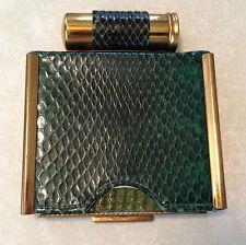 Green snake skin TANDEM compact lipstick combo - Rex 5th Ave - circa 1950s