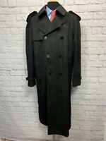 JOE JOSEPH ABBOUD (44L) Men's Black Weather Resistant Trench Coat Jacket