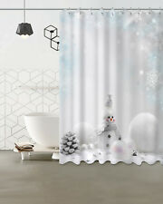 Christmas Snowman Waterproof Polyester Bathroom Decor Shower Curtain Hooks 72""