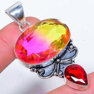 "Bi-Color Tourmaline & Garnet 925 Sterling Silver Jewelry Pendant 2.4"" F2545"
