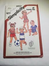 SIMPLICITY 5953, TODDLER, ROMPER, SHORTS TOPS, W/EMBROIDERY TRANSFER. SIZE 2