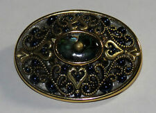 Michal Golan Gold Tone Blue Stone Brooch / pin