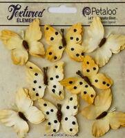 BUTTERFLY YELLOW Mix 8 Teastained Paper 32-33mm across Darjeeling Petaloo Ver