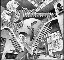 "M C Escher Relativity Optical Illusion Drawing Silk Cloth Poster 24x24"" Decor 04"