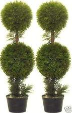 "2 Artificial 3' Outdoor Cedar Cypress 2 Ball Topiary Tree Pine Juniper 36"" Bush"