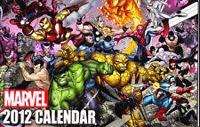 MARVEL 2012 WALL CALENDAR SPIDER-MAN THE HULK THING IRON MAN FANTASTIC FOUR
