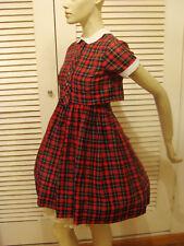 40s VINTAGE RED PLAID LOLITA SCHOOL GIRL 2 pc DRESS XS