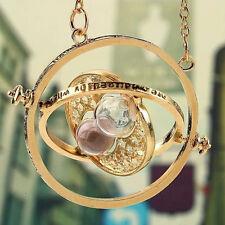 Harry Potter Time Turner Hermione Granger Spins Hour Sandglass Gold Necklace