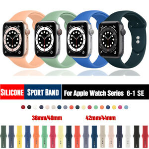 38/42/40/44mm Silicone Sport Band iWatch Strap for Apple Watch Series 6 5 4 3 SE