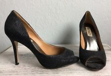"BADGLEY MISCHKA Women's Black ""HUMBIE II"" Sparkle Peep Toe Pump Heel Size 6.5M"