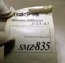 Tokina Lens Instruction Manual 80-200mm f3.5-4.5 Smz-835 vintage