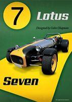 Poster Lotus Seven Colin Chapman 40 x 60 cm édition originale limitée !