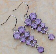 Silver Amethyst Grape Dangle Fishhook Earrings