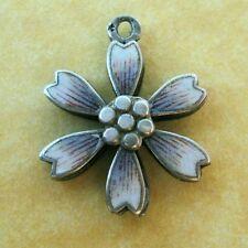 Antique Austrian Silver Enamel Daisy Flower Slider Charm Love you from my Heart