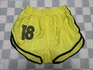 Short MD SPORTS n°18 nylon polyamide années 80 jaune made in France 95