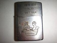 Vietnam War 1971 Zippo Lighter BIEN HOA 71-72 VIET NAM, Nude Girl & Soldier Bath