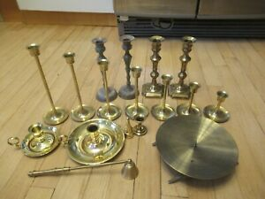 Lot of 17 Vintage Brass Candlestick Holders, Candle Snuffers, More