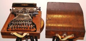 Amazing RARE & Beautiful Antique COMMERCIAL VISIBLE TYPEWRITER #6 w/Case 1890's