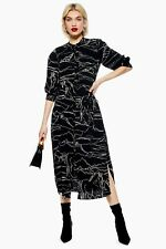 topshop black horse print midi shirt dress size 14 BNWT