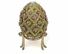 """Faberge Inspired Rose Trellis Egg Authentic Museum Reproduction Music Box 4.5"""" H"""