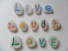 Live Laugh Love - Inspirational rainbow hand painted sea glass fridge magnets