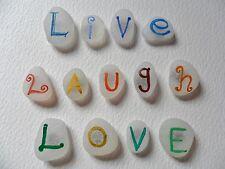 LIVE Laugh Love-fonte d'ispirazione ARCOBALENO dipinto a mano mare vetro Calamite per Frigo