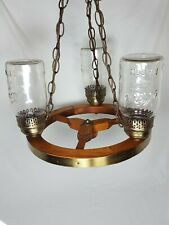 Wooden & Brass Three Lamp Wagon Wheel Chandelier Light Kerr Mason Jar Vintage