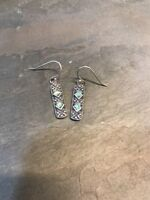 Vintage Sterling 925 Silver W/ Abalone Inlay dangle earrings, Stamped 925