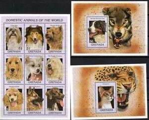 [GR] GRENADA 1997 CATS & DOGS DOMESTIC ANIMALS. SHEET OF 9 + 2 SOUVENIR SHEETS.