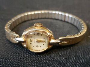 Vtg Waltham Gold Tone 17 Jewel Swiss Mechanical Manual Cocktail Watch Works!