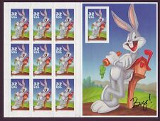 LOW START! #3138 BUGS BUNNY IMPERF MINT SHEET WITH 5% MISCUT ERROR! RARE.