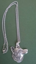 pewter pendant, fox design, hand made in Cornwall with surgical steel chain