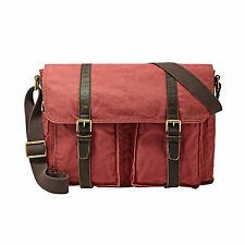 NEW FOSSIL EW MESSENGER BRICK RED CANVAS+BROWN LEATHER,CROSSBODY+MESSENGER BAG