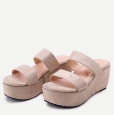 Light Peach Suede Wedge Sandal Slide Size 38 NWOT