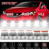 Combo 9005+9006+H11 LED Headlight Kit Hi/Lo Beam 6000K for Honda Civic Accord US