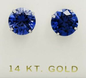 TANZANITE 7.82 Cts STUD EARRINGS 14K WHITE GOLD * Brand New * Made in USA