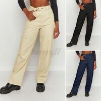New Women Ladies Office Chinos Trousers Work Casual Straight Leg Pants Plus Size